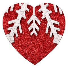 Macro Photo Of Snowflake On Red Glittery Paper Jigsaw Puzzle (heart)