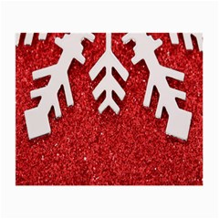 Macro Photo Of Snowflake On Red Glittery Paper Small Glasses Cloth