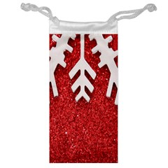 Macro Photo Of Snowflake On Red Glittery Paper Jewelry Bag