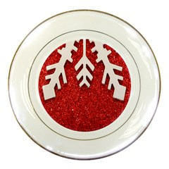 Macro Photo Of Snowflake On Red Glittery Paper Porcelain Plates