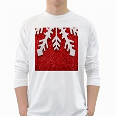 Macro Photo Of Snowflake On Red Glittery Paper White Long Sleeve T Shirts