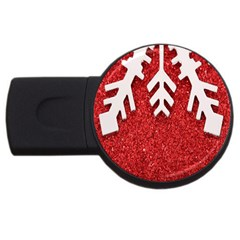 Macro Photo Of Snowflake On Red Glittery Paper Usb Flash Drive Round (4 Gb)