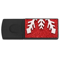 Macro Photo Of Snowflake On Red Glittery Paper USB Flash Drive Rectangular (4 GB)