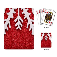 Macro Photo Of Snowflake On Red Glittery Paper Playing Card