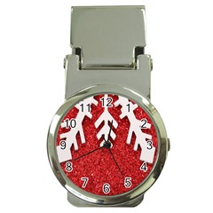 Macro Photo Of Snowflake On Red Glittery Paper Money Clip Watches