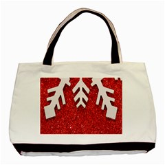 Macro Photo Of Snowflake On Red Glittery Paper Basic Tote Bag