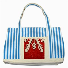 Macro Photo Of Snowflake On Red Glittery Paper Striped Blue Tote Bag