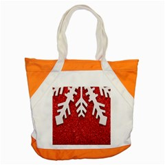 Macro Photo Of Snowflake On Red Glittery Paper Accent Tote Bag