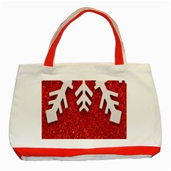 Macro Photo Of Snowflake On Red Glittery Paper Classic Tote Bag (Red)