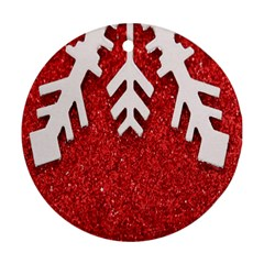 Macro Photo Of Snowflake On Red Glittery Paper Round Ornament (Two Sides)
