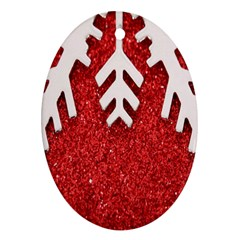 Macro Photo Of Snowflake On Red Glittery Paper Oval Ornament (Two Sides)