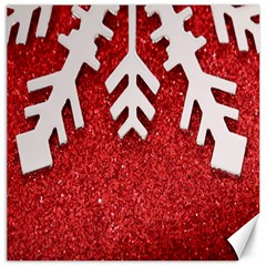 Macro Photo Of Snowflake On Red Glittery Paper Canvas 20  x 20