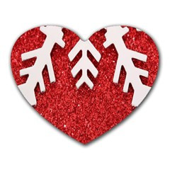 Macro Photo Of Snowflake On Red Glittery Paper Heart Mousepads
