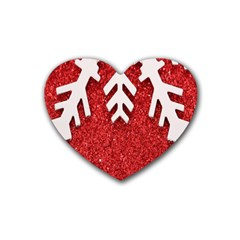 Macro Photo Of Snowflake On Red Glittery Paper Rubber Coaster (Heart)
