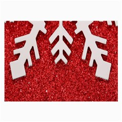 Macro Photo Of Snowflake On Red Glittery Paper Large Glasses Cloth (2-Side)