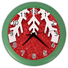 Macro Photo Of Snowflake On Red Glittery Paper Color Wall Clocks