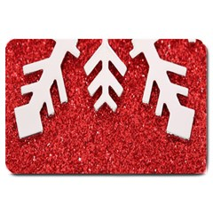 Macro Photo Of Snowflake On Red Glittery Paper Large Doormat
