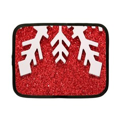 Macro Photo Of Snowflake On Red Glittery Paper Netbook Case (small)