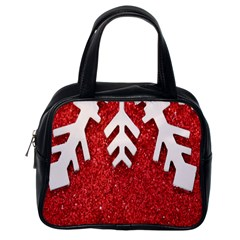 Macro Photo Of Snowflake On Red Glittery Paper Classic Handbags (One Side)