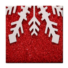 Macro Photo Of Snowflake On Red Glittery Paper Face Towel