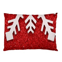 Macro Photo Of Snowflake On Red Glittery Paper Pillow Case