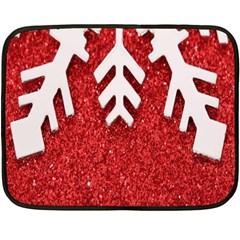Macro Photo Of Snowflake On Red Glittery Paper Double Sided Fleece Blanket (Mini)