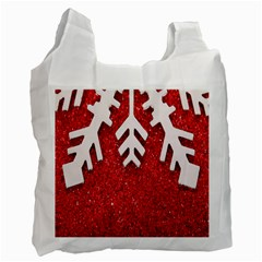 Macro Photo Of Snowflake On Red Glittery Paper Recycle Bag (one Side)
