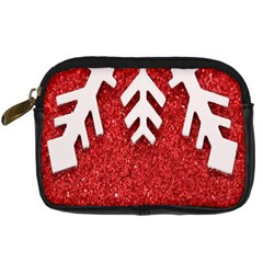 Macro Photo Of Snowflake On Red Glittery Paper Digital Camera Cases