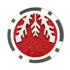 Macro Photo Of Snowflake On Red Glittery Paper Poker Chip Card Guard (10 pack)
