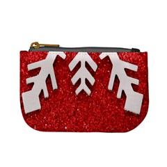 Macro Photo Of Snowflake On Red Glittery Paper Mini Coin Purses