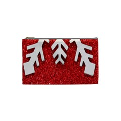 Macro Photo Of Snowflake On Red Glittery Paper Cosmetic Bag (Small)