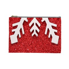 Macro Photo Of Snowflake On Red Glittery Paper Cosmetic Bag (large)
