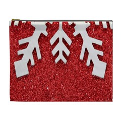 Macro Photo Of Snowflake On Red Glittery Paper Cosmetic Bag (xl)