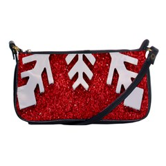 Macro Photo Of Snowflake On Red Glittery Paper Shoulder Clutch Bags