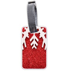 Macro Photo Of Snowflake On Red Glittery Paper Luggage Tags (one Side)
