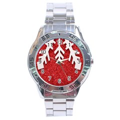 Macro Photo Of Snowflake On Red Glittery Paper Stainless Steel Analogue Watch