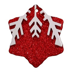 Macro Photo Of Snowflake On Red Glittery Paper Ornament (Snowflake)