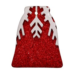 Macro Photo Of Snowflake On Red Glittery Paper Ornament (bell)