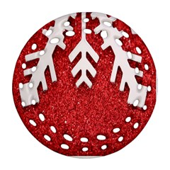 Macro Photo Of Snowflake On Red Glittery Paper Round Filigree Ornament (Two Sides)