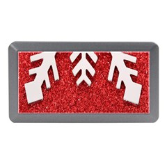 Macro Photo Of Snowflake On Red Glittery Paper Memory Card Reader (mini)