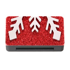 Macro Photo Of Snowflake On Red Glittery Paper Memory Card Reader With Cf