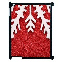 Macro Photo Of Snowflake On Red Glittery Paper Apple iPad 2 Case (Black)