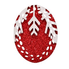 Macro Photo Of Snowflake On Red Glittery Paper Oval Filigree Ornament (Two Sides)