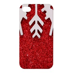 Macro Photo Of Snowflake On Red Glittery Paper Apple Iphone 4/4s Hardshell Case