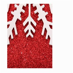 Macro Photo Of Snowflake On Red Glittery Paper Large Garden Flag (two Sides)