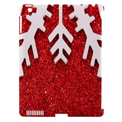 Macro Photo Of Snowflake On Red Glittery Paper Apple iPad 3/4 Hardshell Case (Compatible with Smart Cover)