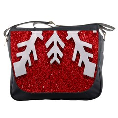 Macro Photo Of Snowflake On Red Glittery Paper Messenger Bags