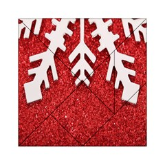 Macro Photo Of Snowflake On Red Glittery Paper Acrylic Tangram Puzzle (6  X 6 )