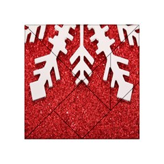 Macro Photo Of Snowflake On Red Glittery Paper Acrylic Tangram Puzzle (4  x 4 )