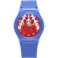 Macro Photo Of Snowflake On Red Glittery Paper Round Plastic Sport Watch (S)